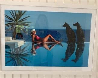 Photograph of Women Poolside w/ 2 Dog Statues