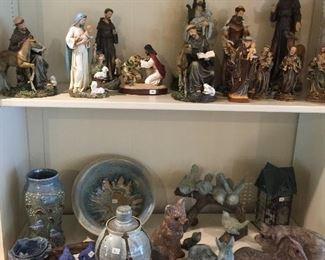 McCarty pottery on bottom shelf