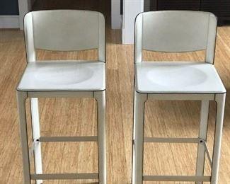 Matteo Grassi vintage white leather designer stools, set of four