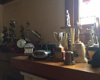 Antique Clocks and Trophies