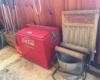 Coca-Cola Metal Cooler (1950s)  -Antique Wash Items