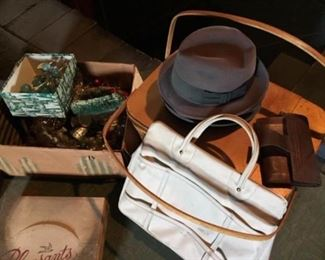 Attic finds - Old Christmas, Picnic Basket, leather tote, men's hats