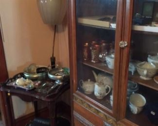 Antique End Tables (2),   Mid Century Lamp,  China and Glassware,  Old Typewriter,   Las Vegas Ashtrays