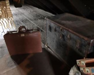 Leather Valise and Large Trunk (early 1900s)