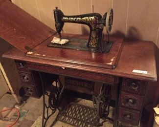 Antique Singer Sewing Machine with Foot Pump