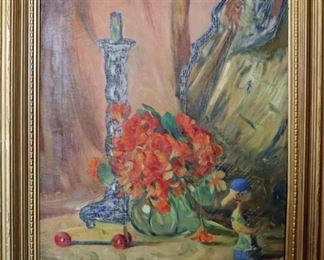 """""""Nasturtiums"""". Oil on Canvas. Signed lower right. $2,250.00."""