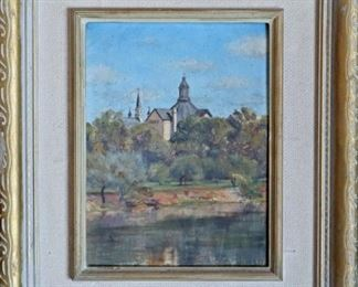 M-42 Saint Mary's, South Bend Indiana. Oil on Board. Signed lower right. $700.00.