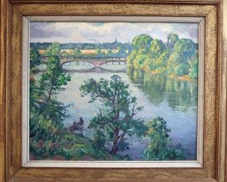 "M-46: ""Summer Day - Belle Isle Bridge"", Detroit, Michigan. Signed lower left. $1,750.00."
