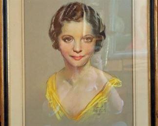 "M-48: ""Sylvia Sydney Portrait"" 1931. Pastel on Paper. Signed lower right."