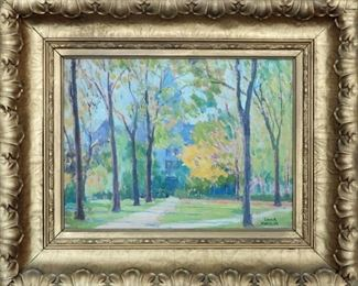 """M-41 """"Museum, University of Michigan"""", Ann Arbor, 1922. Oil on Board. Signed lower right. $1,150.00"""