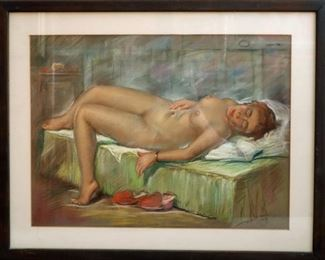 """M-49: """"Nude with Orange Slippers"""". Pastel on Paper. Signed lower right. $850.00."""