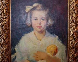 """""""Sally Merrilat Portrait"""", 1943. Oil on Canvas. Signed lower left. $1,800.00."""