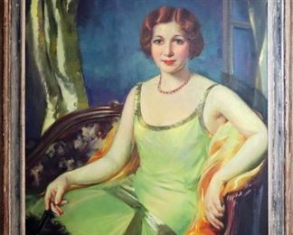 """M-55: """"Miss D"""" Portrait of Dorothy King, 1929. Oil on Canvas. Signed lower right. $2,200.00."""