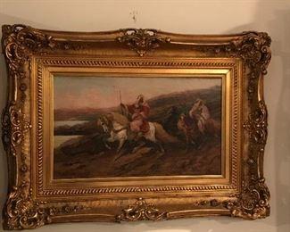Oil Painting - Arab Warrior in the white stallion- Artist Schreyer- German painter.  Artwork featured at MOMA
