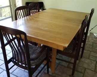 Mission Table with 2/Leafs-great leg detailing. 5 Danish Chairs. 2 Danish Modern Chairs with Leather Seats. All sold separately.