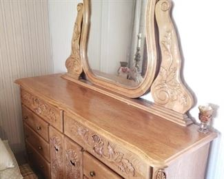 Credenza/Mr and Mrs/Dresser with Beveled Mirror and Detailing.
