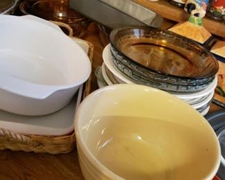 Pottery Bowls, Corning Ware, Pyrex and others.