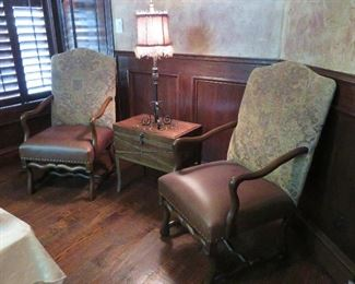 Two of the eight dining chairs