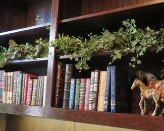 Books, shelf greenery