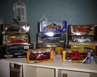 die-cast cars in boxes