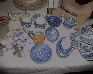 old Japan blue willow child's set  and more