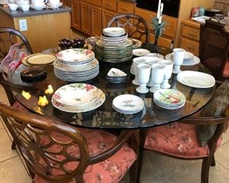 Beautiful glass topped dinette set