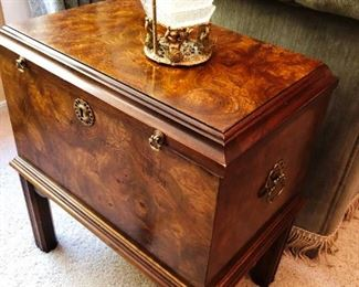 Unique burl wood chest on stand