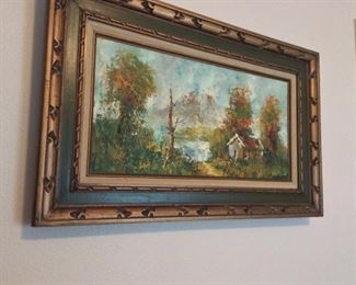 "Framed Oil Painting by Barton, 32"" x 20""."