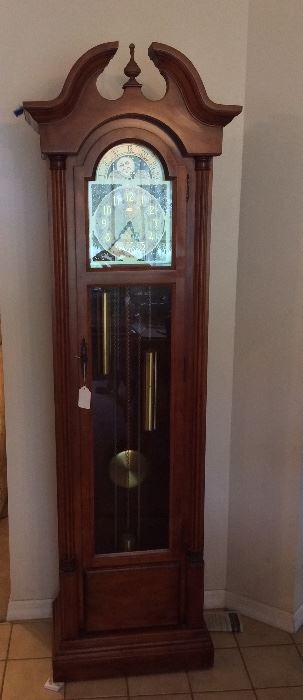 "Seth Thomas Grandfather Clock, 77"" H x 23 1/2"" W x 13"" D."