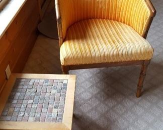 Side chair & tiled top table