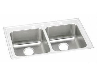 Elkay LRAD3321653 18 Gauge Stainless Steel 33  x 21.25  x 6.5  Double Bowl Top Mount Sink