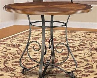 Powell Harrington Cherry Pub Table, Matte Pewter and Bronze, Box 1 of 2