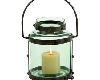 Deco 79 Metal Glass Lantern, 7 by 13-Inch