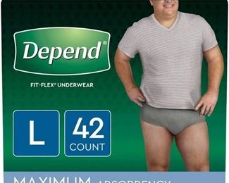 Depend Fit-Flex Incontinence Underwear for Men, Maximum Absorbency, L, Gray - 42 ea