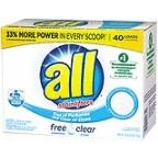 All Powder Laundry Detergent, Free Clear, 52 Ounce