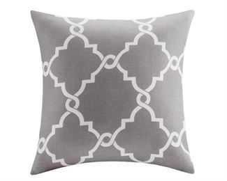 Madison Park Westmont Fretwork Print Throw Pillow (Grey)