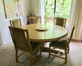 Round Oak Dining Table with 1 Leaf - 8 chairs available