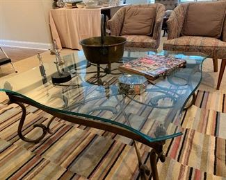 "42"" x 42"" glass top, metal base coffee table"