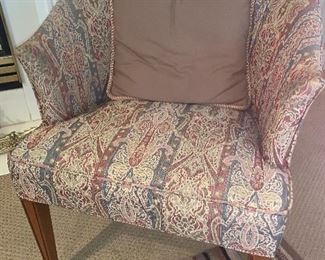 Four upholstered club chairs