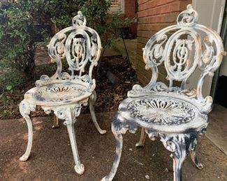 Antique cast iron English lawn chairs