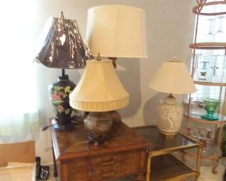 Many table lamps including Waterford