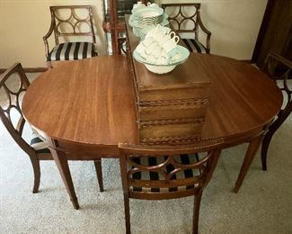 """64"""" oval table & six chairs -  3 - 12"""" leaves extends to 100"""""""