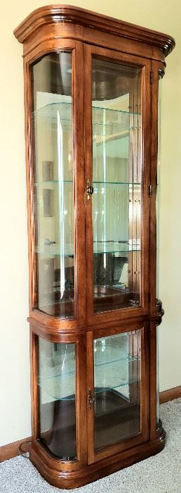 Curved beveled glass lighted curio cabinet