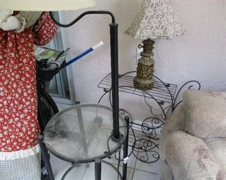 Wrought iron plan stand or tea cart and floor lamp
