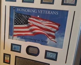 Honoring Veterans - Commemorative US stamp collectibles, nicely framed and matted.