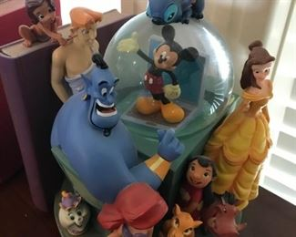 """""""Disney Through The Years"""" Snowglobe Bookends -Lights up and plays music"""