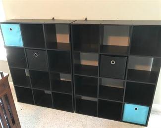 Pair of black, multi cube organizers