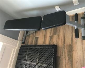 Powerline folding Weight Bench and durable anti-fatigue mats