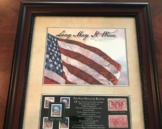 """""""Long May It Wave"""" Commemorative US stamp collectibles, nicely framed and matted."""