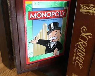 """MB """"Vintage"""" Wooden Box Version Games-set of 5"""
